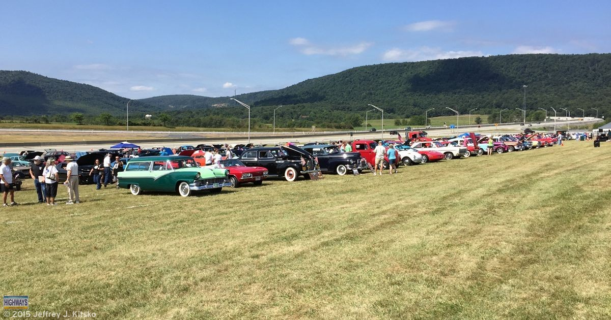 Vehicles from various eras and states on display at the Pennsylvania Turnpike 75th Birthday Car Show