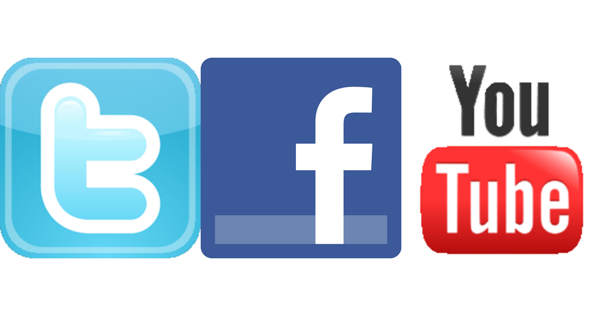 Social network with us via Twitter, Facebook, or YouTube.