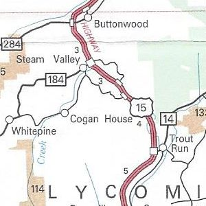 US 15 completed as an expressway through Lycoming County on the 2011 official road map