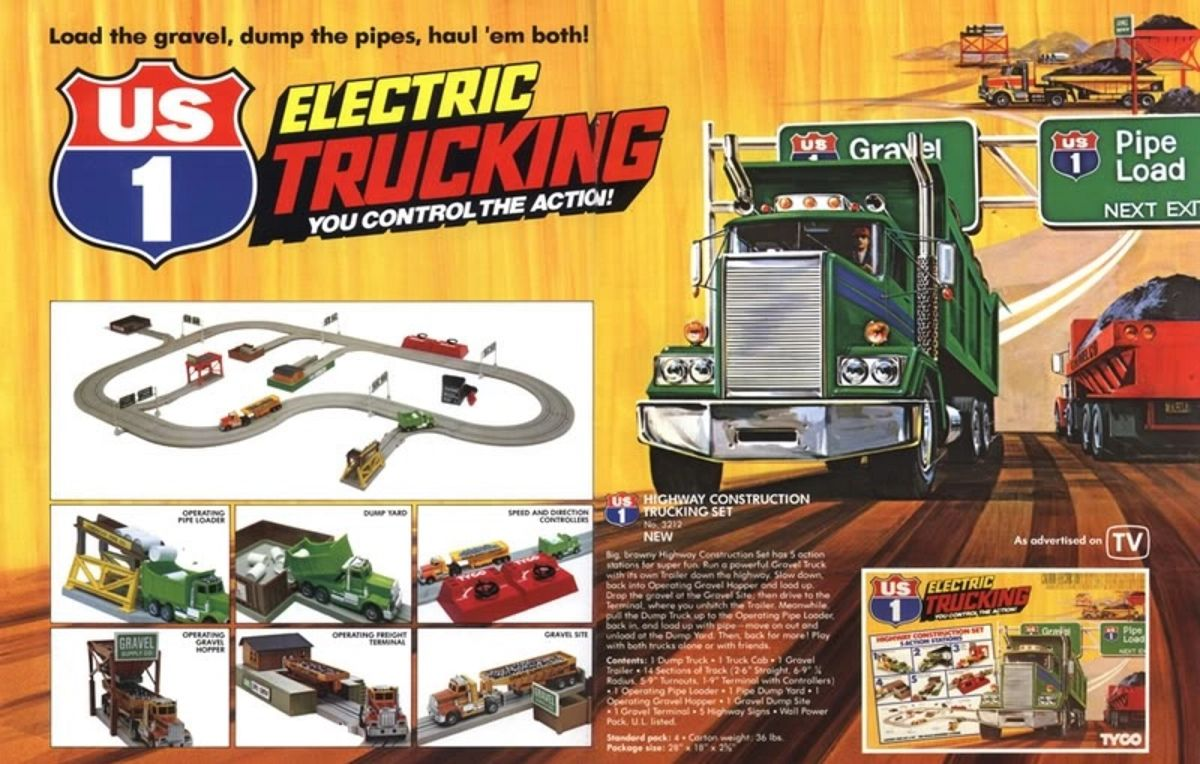 The US 1 Highway Construction Trucking Set where you could go eastbound and down via a small slot truck