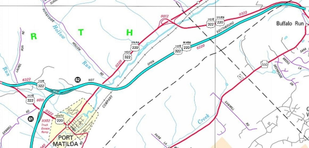 Routes of US 220 and US 322 as remediation of acid rock was winding down and Interstate 99 finally opens.