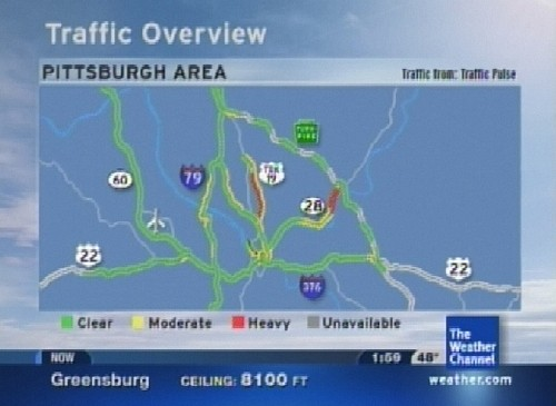 """Screenshot of with roads on television during The Weather Channel's """"Local on the 8's"""" segment."""