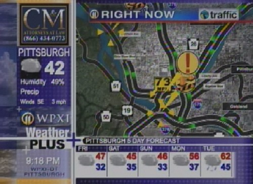 Screenshot of WPXI-TV's Weather Plus channel with roads on television.