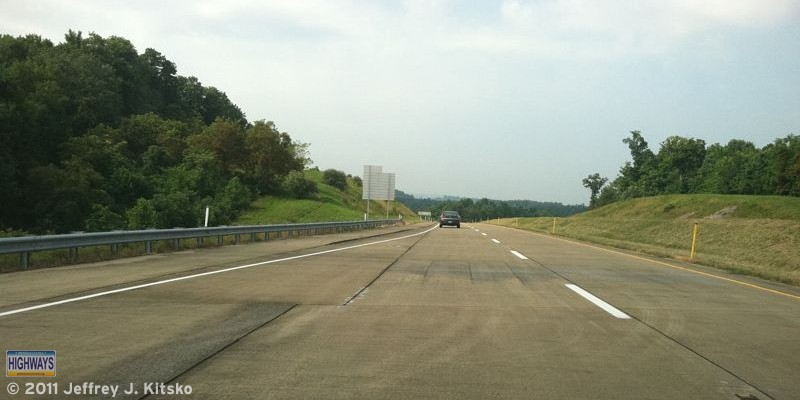 Entering PA Turnpike 43 northbound via the off-ramp at Exit 2
