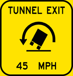 Tunnel Exit - Sharp Left Curve - 45 MPH