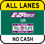 All Lanes No Cash sign