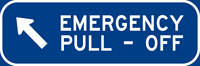 Left Emergency Pull-Off sign