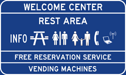 Welcome Center/Rest Area sign
