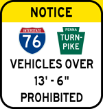 Vehicles Over 13 Feet - 6 Inches Prohibited sign