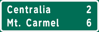 Image of a Double-Line Distance Sign (D2-1)