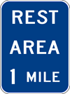 Image of a Rest Area (__) Mile Sign (D5-1)