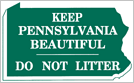 Image of a Keep Pennsylvania Beautiful State Outline Sign (I14-3)