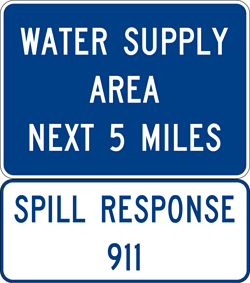Image of a Water Supply Area Sign (I80-1)