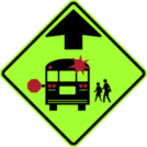Image of a School Bus Stop Ahead Sign (S3-1)