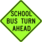 Image of a School Bus Turn Ahead Sign (S3-2)