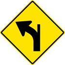 Left Curve — Diverging Minor Right Side Road Sign (W1-10BL)