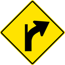 Right Curve — Diverging Minor Left Side Road Sign (W1-10BR)