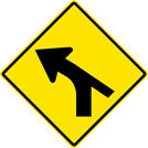 Image of a Left Curve — Converging Minor Right Side Road Sign (W1-10CL)