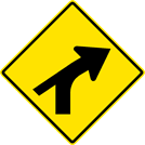 Right Curve — Converging Minor Left Side Road Sign (W1-10CR)
