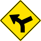 Image of a Left Curve Right Side Road Sign (W1-10L)