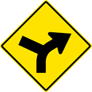Right Curve Left Side Road Sign (W1-10R)