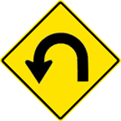 Image of a Left Horseshoe Curve Sign (W1-11L)