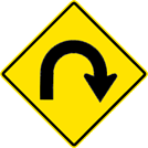 Right Horseshoe Curve Sign (W1-11R)