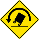 Image of a Truck Rollover Left Curve Sign (W1-13L)