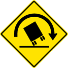 Image of a Truck Rollover Right Curve Sign (W1-13R)