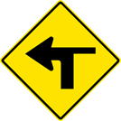 Image of a Left Turn With Side Road Right Sign (W1-1LR)