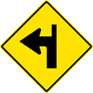 Image of a Left Turn With Side Road Straight Ahead Sign (W1-1LS)