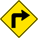Right Turn Sign (W1-1R)