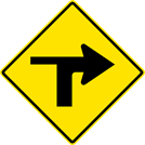 Image of a Right Turn With Side Road Left Sign (W1-1RL)