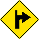 Image of a Right Turn With Side Road Straight Ahead Sign (W1-1RS)