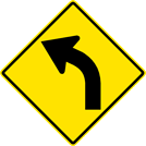 Image of a Left Curve Sign (W1-2L)