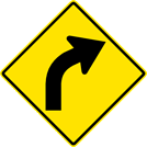 Image of a Right Curve Sign (W1-2R)