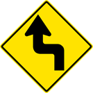Image of a Left Reverse Turn Sign (W1-3L)