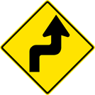Image of a Right Reverse Turn Sign (W1-3R)