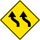 Image of a Two-Lane Left Reverse Curve Sign (W1-4BL)