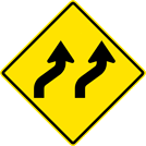 Two-Lane Right Reverse Curve Sign (W1-4BR)