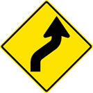 Right Reverse Curve Sign (W1-4R)