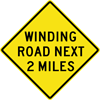 Image of a Winding Road Next (__) Miles Sign (W1-5-1)
