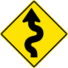 Left Winding Road Sign (W1-5L)