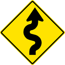 Right Winding Road Sign (W1-5R)