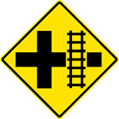 Image of a Railroad Crossing at Cross Road Sign (W10-2)