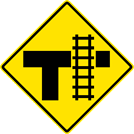 "Image of a Railroad Crossing On Stem of ""T"" Intersection Sign (W10-4)"