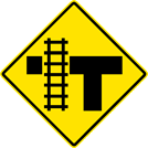 "Image of a Railroad Crossing On Stem of ""T"" Intersection Sign (W10-4A)"