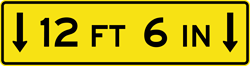 Image of a Low Clearance (Overhead) Sign (W12-2A)