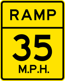 Image of a Advisory Ramp Speed Sign (W13-3)