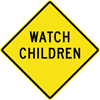 Image of a Watch Children Sign (W15-2)
